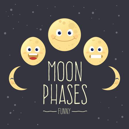 Conjunto divertido de fases de la luna de la historieta, ilustración vectorial
