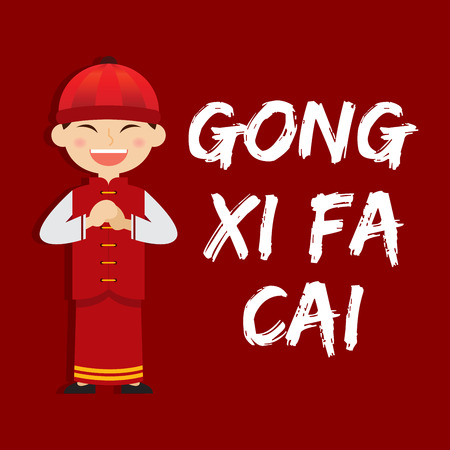 boy saying gong xi fa chai chinese new year vector illustration stock vector 50010858