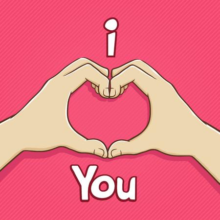 forming: Hand forming heart shape expressing love, vector illustration