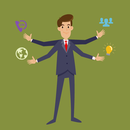 multi tasking: Multi tasking businessman with four arms, vector illustration