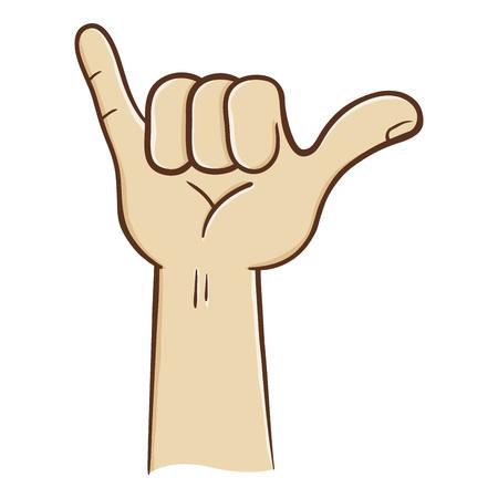 loose: Hang loose hand sign and symbol, vector illustration Illustration