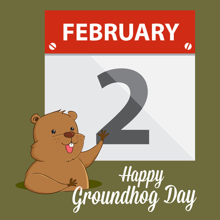 Groundhog waving in front of calendar, happy groundhog greeting vector illustration