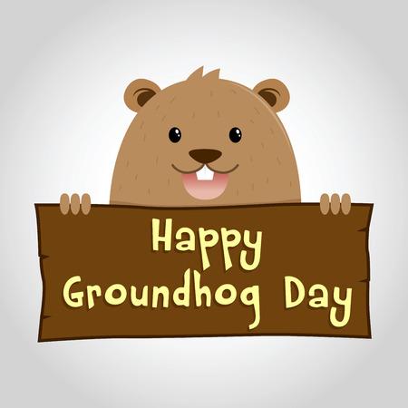 gopher: Groundhog holding wooden sign saying happy groundhog day, vector illustration Illustration