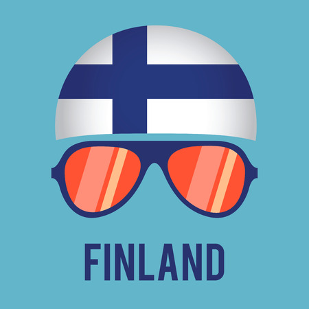 FINLAND flag: Head band and glasses with Finland flag, vector illustration