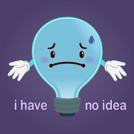 fluorescent lamp: light bulb with a sad face having no idea concept, illustration