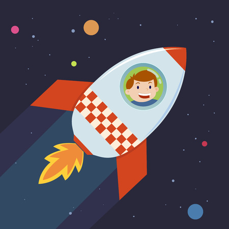 booster: Boy in a rocket ship in a journey to space, illustration
