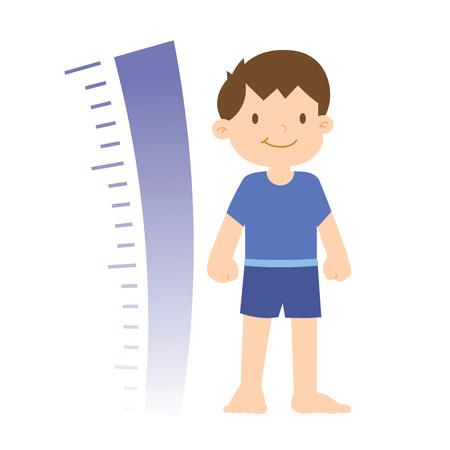 Groei voortgang van een kleine jongen met grafiek, illustratie Stock Illustratie