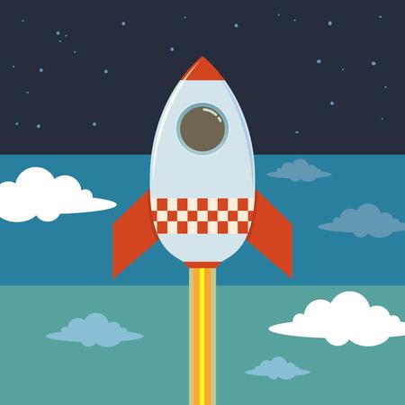blasting: Rocket ship blasting to outer space,  illustration