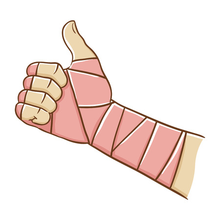on elastic: Broken hand wrapped in elastic bandage while doing thumb up, illustration
