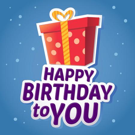full color: Happy birthday greeting sticker with gift in full color, illustration Illustration