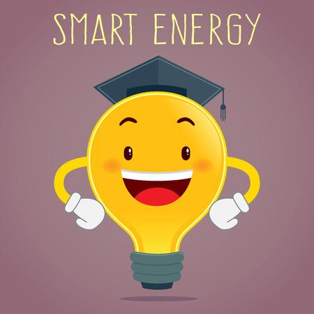 toga: bombilla que lleva el sombrero toga energ�a inteligente concepto, ilustraci�n