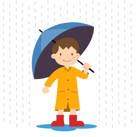 niño feliz, sosteniendo un paraguas bajo la lluvia, ilustración