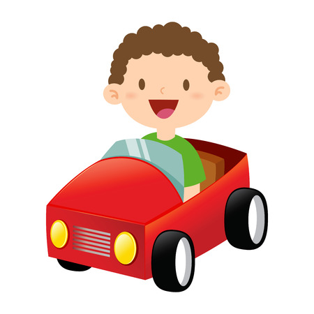 Happy little boy riding a toy car Illustration