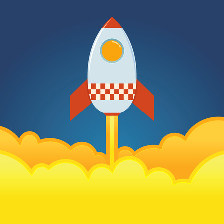 Rocket ship blasting off from the ground, vector illustration