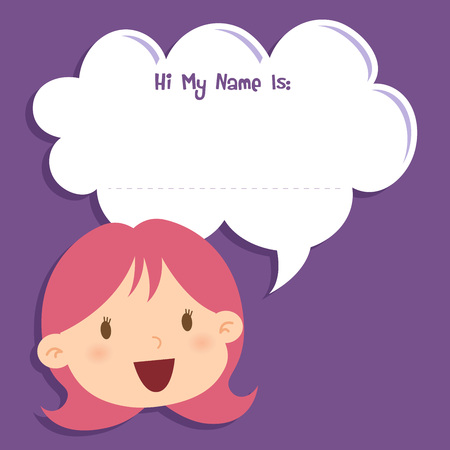 speech bubble vector: Little girl face with a blank speech bubble, vector illustration