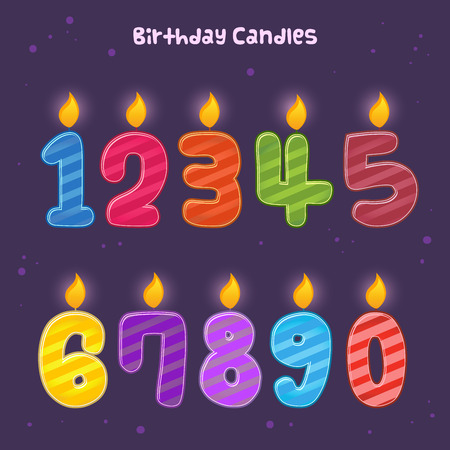 compilation: Group of colorful numbers for birthday candles, vector illustration