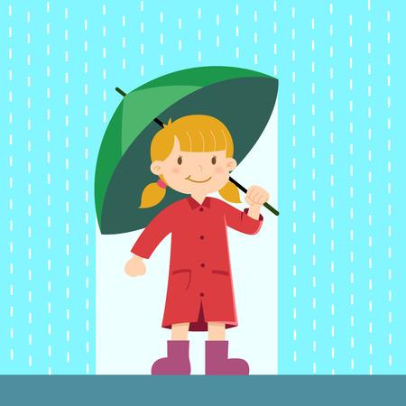 Happy little girl holding an umbrella in the rain, vector illustration Illustration