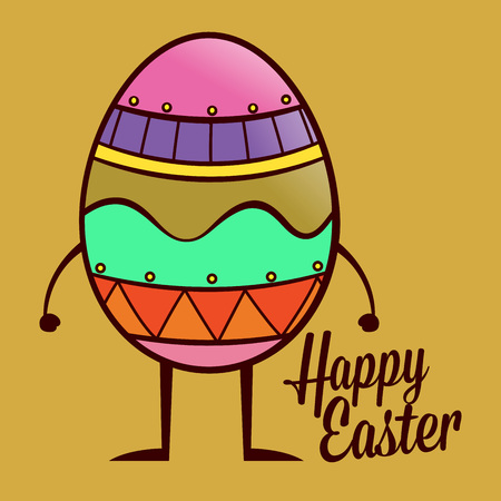 body painting: Happy Easter greetings with colorful egg, vector illustration Illustration