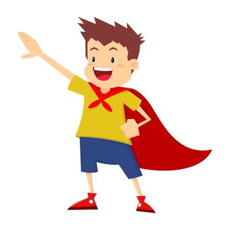 Little boy wearing red cape pretending to be a super hero, vector illustration