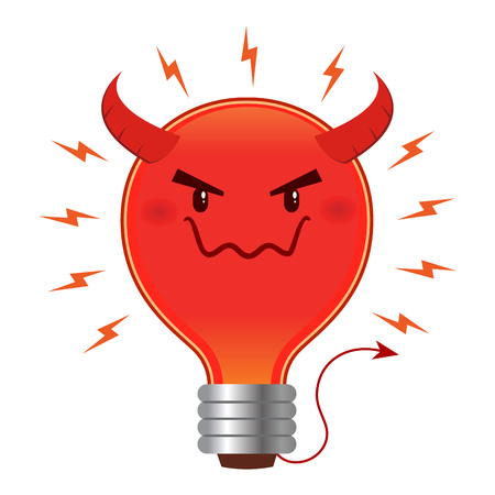 Bad idea concept, light bulb with devil horn and tail. Vector illustration