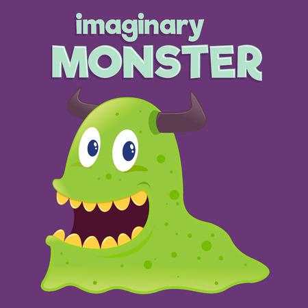 Children imaginary slimy slug monster, vector illustration