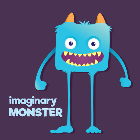furry: Children imaginary furry long legged blue monster, vector illustration