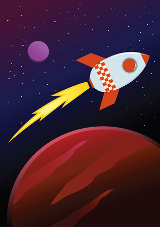 Rocket ship flying in space between planets, vector illustration