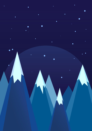 snow cap: Snowy mountains in winter night nature landscape, vector illustration