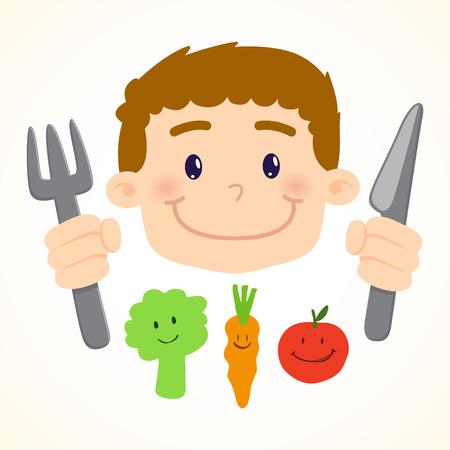 hungry kid: Little boy holding a knife and a fork eating vegetables, vector, illustration Illustration