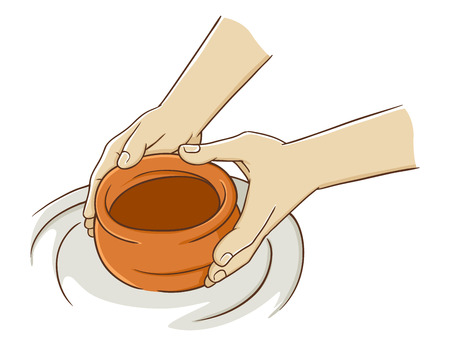 Hand making pottery from clay, vector illustration
