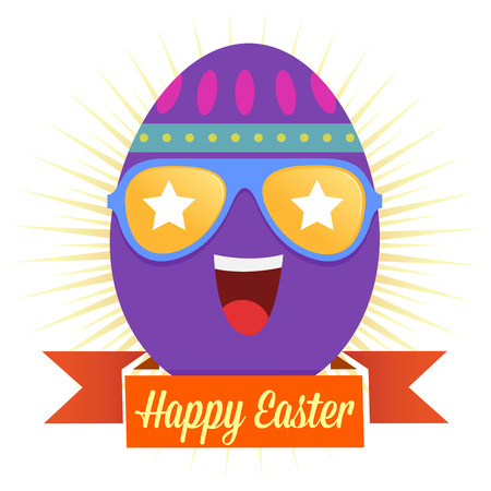 ester: Ester greetings with an egg wearing sunglasses, illustration