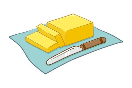刻んだバター ブロックとナイフのイラスト