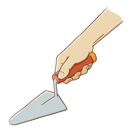 hand trowel: Hand holding a trowel for construction, illustration