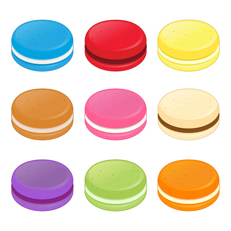 flavor: Group of colorful macaroons in different flavor, illustration