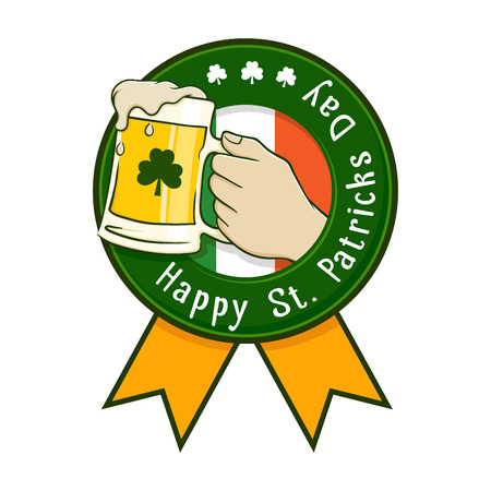 hand holding flower: Happy Saint Patricks Day label with ribbon, illustration