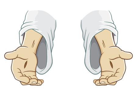 Jezus Chrystus, wyciągając rękę, ilustracja