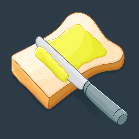 bread and butter: Knife spreading butter or margarine on a slice of bread, vector illustration