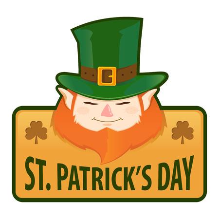 Saint Patricks Day greetings, vector label design