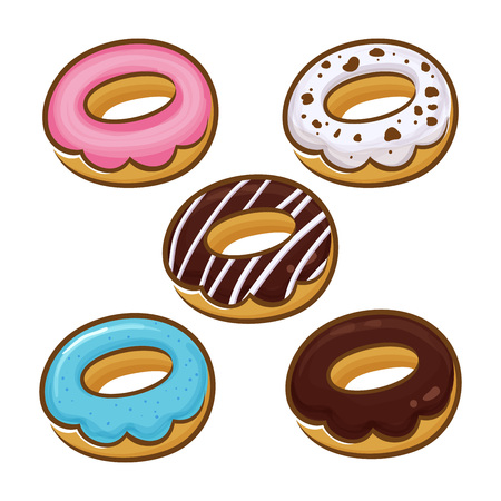 flavor: Group of donuts in different flavor, vector illustration Illustration