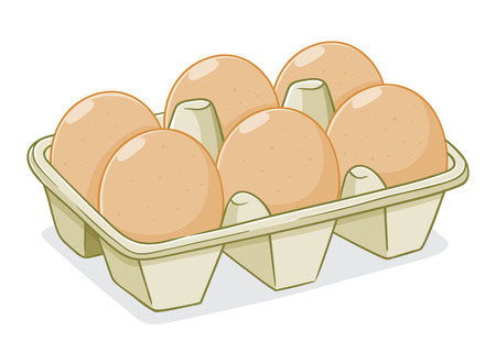 Eggs in a carton box, hand drawing vector illustration