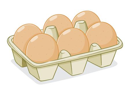 Eieren in een kartonnen doos, met de hand tekening vector illustratie