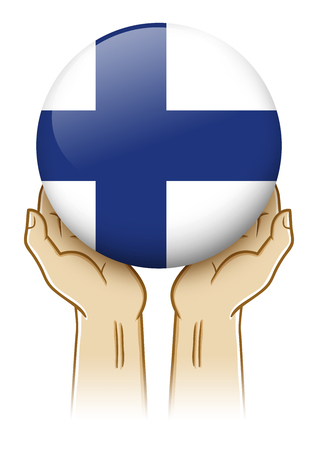 Pair of hand holding and lifting an orb with Finland insignia Stock Photo