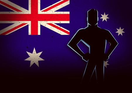 호주 국기의 앞에 서있는 남자의 실루엣 그림