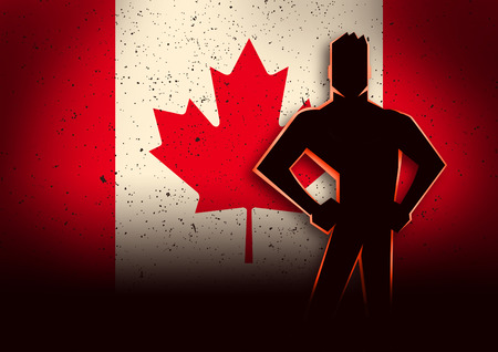 canadian military: Silhouette illustration of a man standing in front of Canada flag