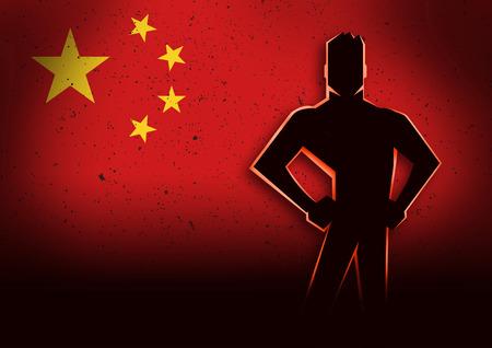 Silhouette illustratie van een man die in de voorkant van de vlag van China Stockfoto