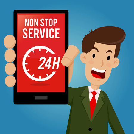 non: Businessman holding smartphone and showing non stop service icon, vector illustration