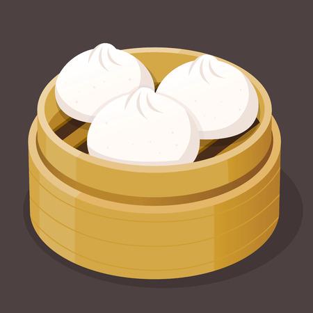 Gestoomd varkensvleesbroodje dim sum op een bamboe dienblad, vector illustratie
