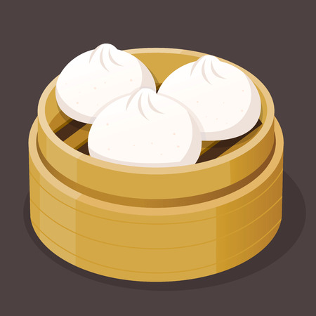 Steamed pork bun dim sum on a bamboo tray, vector illustration
