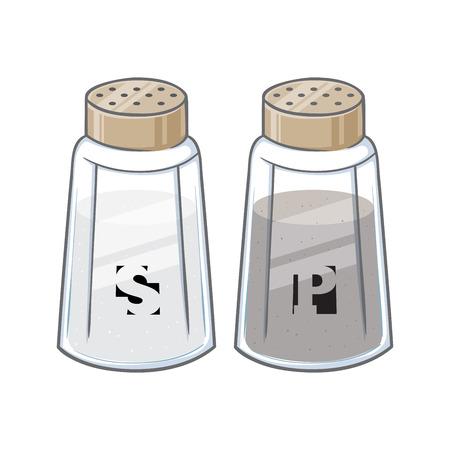 Vector illustration of salt and pepper shaker bottles