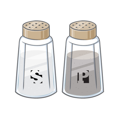 Vector illustration of salt and pepper shaker bottles
